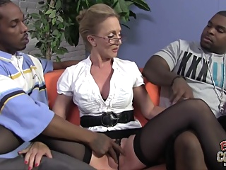 Mature blonde woman, Jenna Covelli cant hold back from having threesomes with handsome, black guys pornheed big cock big tits blonde