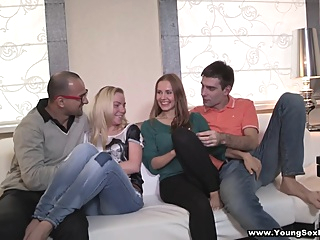 Anna, Angela Sharing the Fruit of Group Sex pornheed blonde brunette creampie