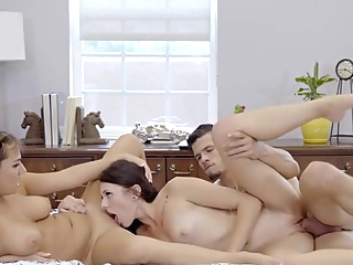 Mom Fucks Step Son & GF to keep Secret pornheed big cock big tits brunette