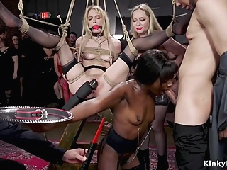 Blonde and ebony serving at bdsm party pornheed amateur bdsm big cock